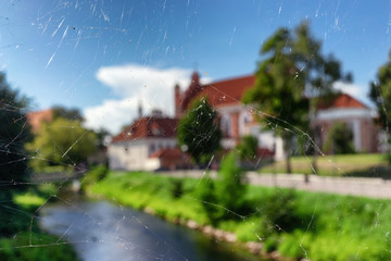 Landscape through a web in Vilnius