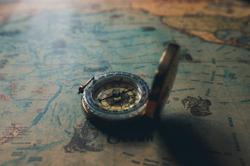 vintage retro compass discovery history concept