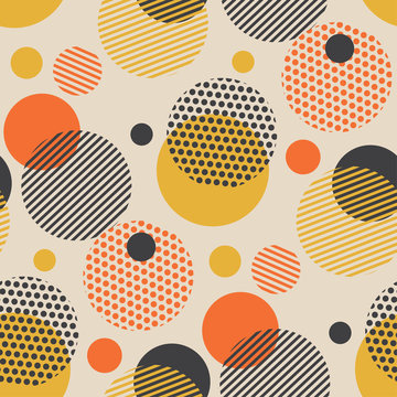 Vintage style scattered circle geometry seamless pattern.