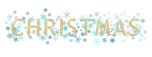 Christmas word written in gold metallic text style with turquoise blue and silver snowflakes, isolated on white. Ideal banner, header.