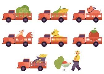 Flat farmer truck pickup delivering livestock animals farmer man with harvest food in cart set. Farming transportation and organic food. Vector isolated illustration