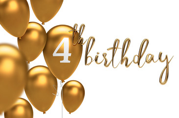 Gold Happy 4th birthday balloon greeting background. 3D Rendering