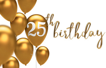Gold Happy 25th birthday balloon greeting background. 3D Rendering