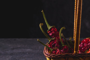 Dried, red, hot pepper on a black background. Spice