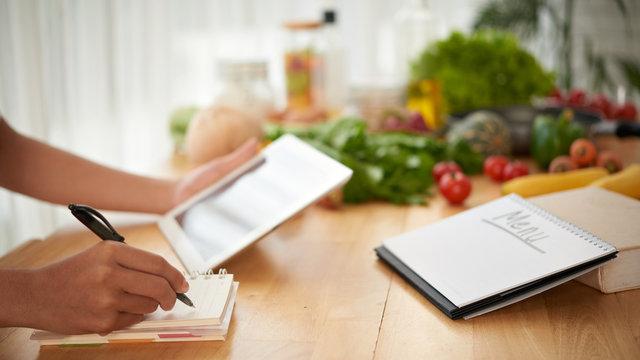 Writing healthy menu
