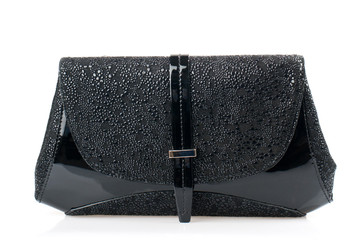 Black female clutch isolated on white background.