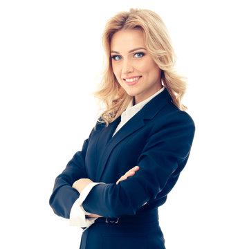 Full body portrait of happy smiling businesswoman
