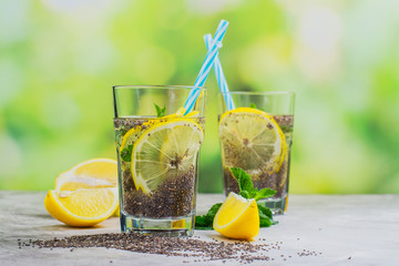 Chia fresca drink with lemon and mint