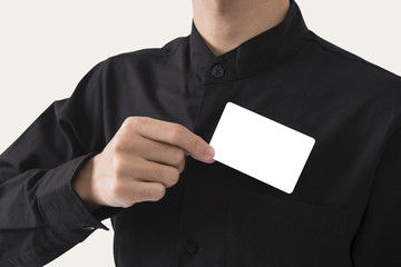 employee catch blank business card in pocket for mockup template logo branding background.