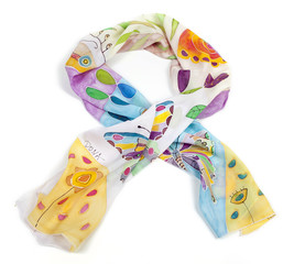 Hand painted silk scarf with butterflies and colorful flowers and motifs isolated on white
