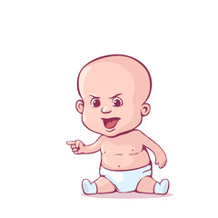 Baby in the diaper. Cartoon character. Vector illustration isolated on a white. Eps 10.