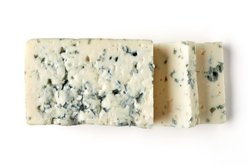 Blue cheese slices isolated on white, from above
