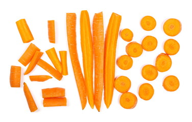 Carrots with slices isolated on white background, top view