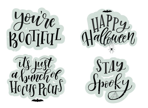Halloween cards typography and calligraphy design. Set of Halloween posters, banners, prints, backgrounds. textured  invitation concept.