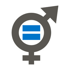 Gender equality icon vector. Male equals female illustration.