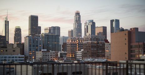 View Of Los Angeles Skyline At Sunset