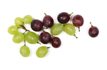 White and cardinal grapes isolated on white background, top view