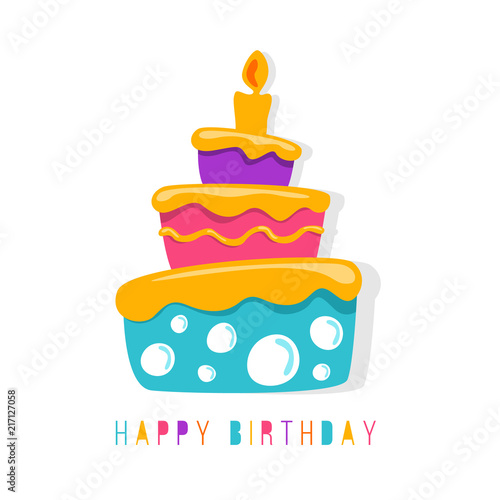 Happy Birthday Banner With Abstract Simple Cute Cake Symbol Vector