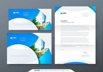 Envelope DL, C5, Letterhead. Corporate business stationery template for envelope and letter.