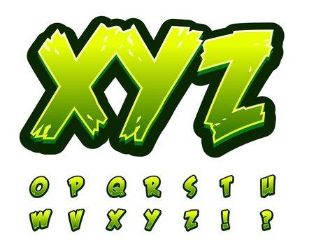 Alphabet green zombie