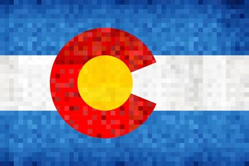Abstract grunge mosaic flag of Colorado - illustration, 