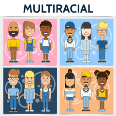 Flat Multiracial Families Square Concept