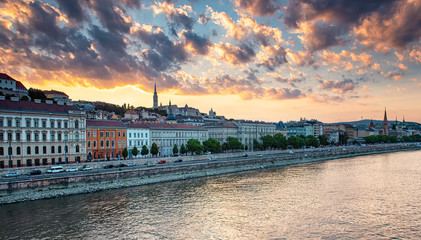 Riverbank of Budapest in sunset