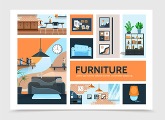 Flat Home Interior Infographic Template