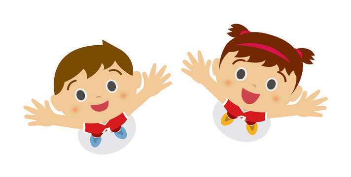 kids (children / boy and girl) looking up into the sky (wearing basketball uniform). cartoon illustration.