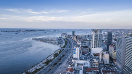 Aerial photograph of the marginal of Luanda, Angola. Africa.Difference between new and old buildings.