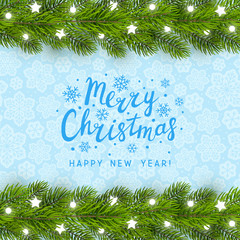 Greeting card with Christmas tree border on blue background