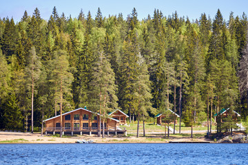 Wooden cottages in a pine forest on the lake. Summer landscape. Rural Finland.