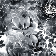 imprints monochrome flowers and leaves mix repeat seamless pattern. digital hand drawn picture with watercolour texture.