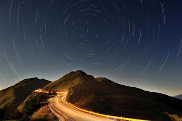 Hehuan mountain and starry night sky, long exposure, in Nantou, Taiwan, China, Asia