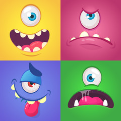 Cartoon monster faces set. Vector set of four Halloween monster faces with different expressions.