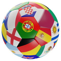soccer ball flags 3d-illustration