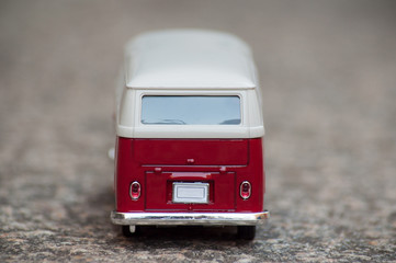 closeup of vintage van on stone background