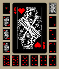 Hearts suit black playing cards