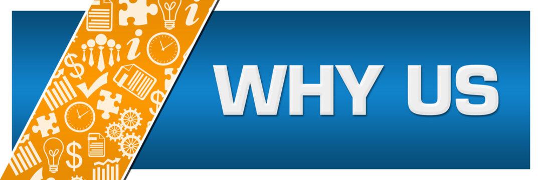 Why Us Orange Business Element Blue Left Side