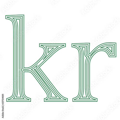 Krone Denmark Sweden Currency Symbol Icon Striped Vector