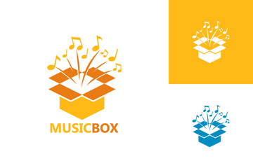Music Box Logo Template Design Vector, Emblem, Design Concept, Creative Symbol, Icon
