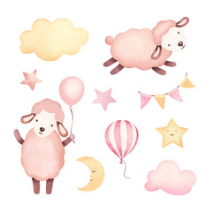 Watercolor illustration of cute sheep, stars, clouds