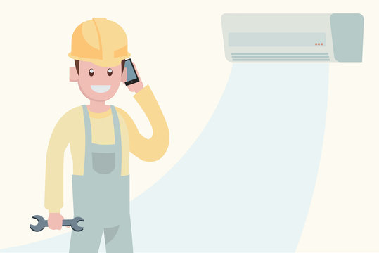 air conditioner maintenance service concept ,character of repairman work illustration vector.