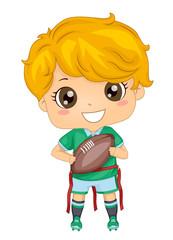 Kid Boy Flag Foot Ball Illustration