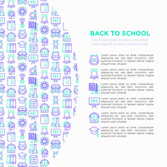Back to school concept with thin line icons: backpack, bell, book, microscope, knowledge, owl, graduation cap, bus, biology, blackboard, physics, exam. Modern vector illustration, print media template