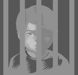 Kid Boy Juvenile Prison Illustration
