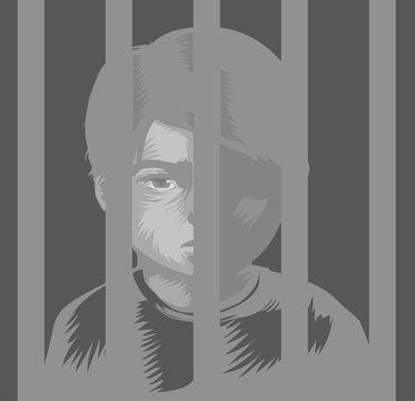Kid Boy Juvenile Prison Illustration