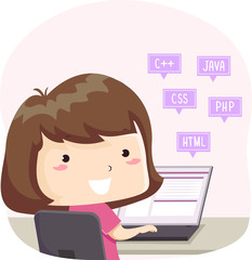 Kid Girl Programming Languages Laptop Illustration