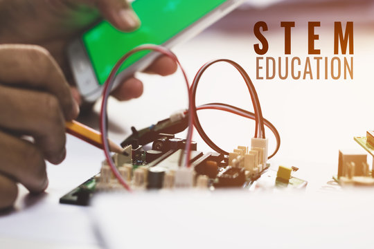 STEM Education for Learning, Electronic board for be program by robotics electronics in laboratory in school. Concept of Mathematics, engineering, science, technology for innovation in classroom