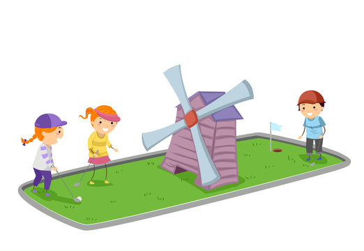 Stickman Kids Mini Golf Wind Mill Illustration
